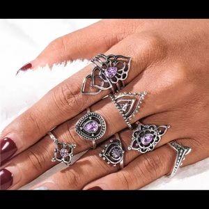 6 Piece Boho Purple Rings